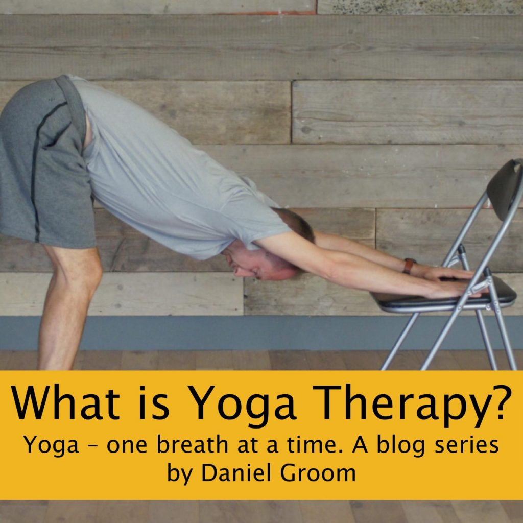 Daniel Groom demonstrating yoga pose with a banner reading 'What is Yoga Therapy? Yoga - one breath at a time. A blog series by Daniel Groom'