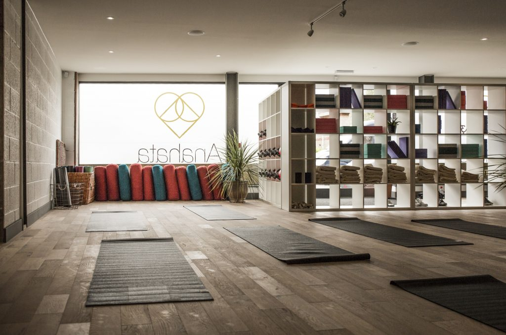 Anahata Yoga Studio with mats on floor