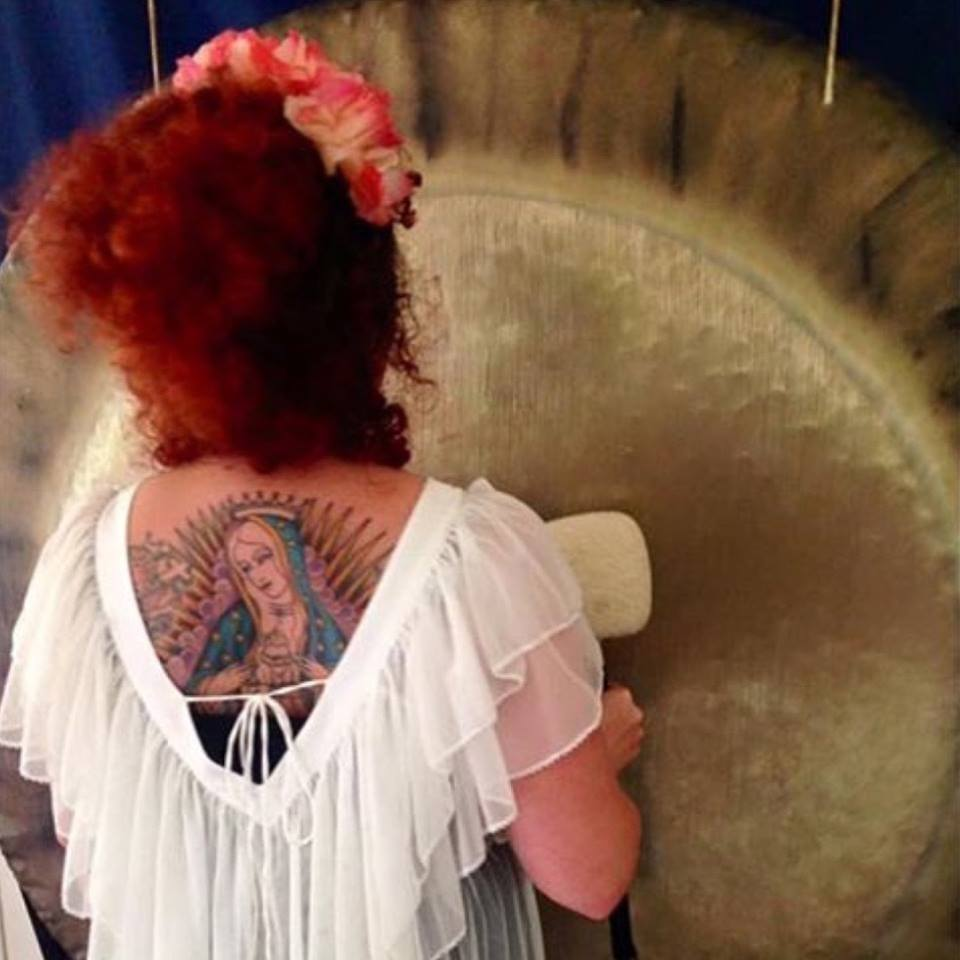 woman and gong