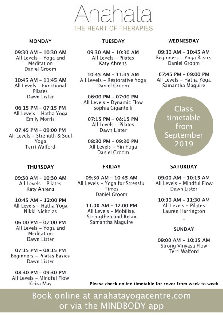 timetable for Anahata Yoga Centre from September 2019
