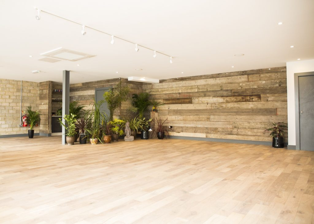 empty yoga studio with plants