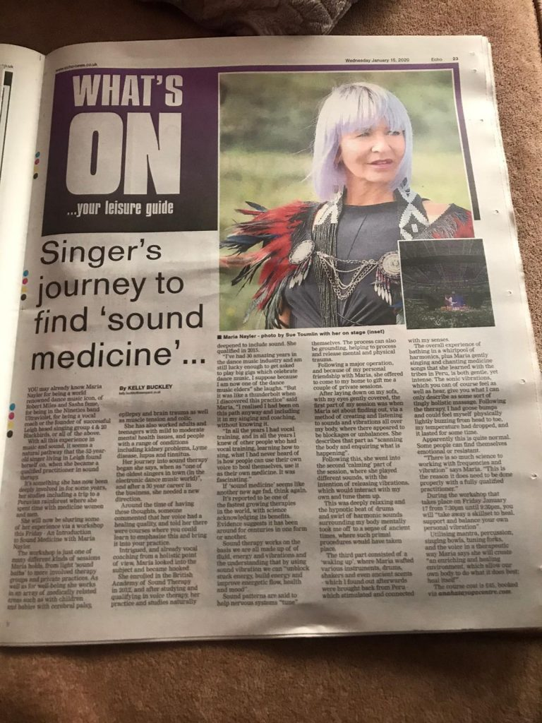 article about Maria Nayler's Sound Medicine journey in Essex Echo