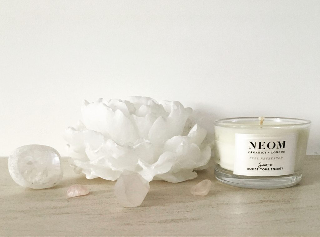 Neom candle, quartz and lotus candle