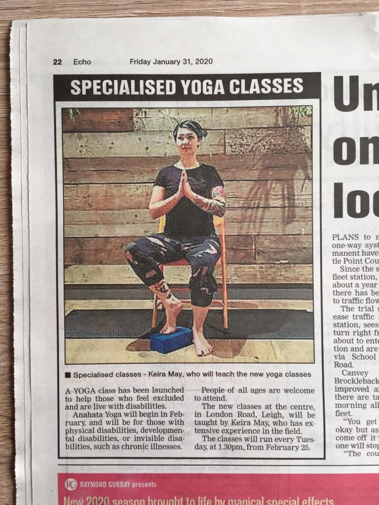 Essex Echo newspaper with article about Keira May's Accessible Yoga Class