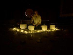 Rachel Edgley with a Gong Bath