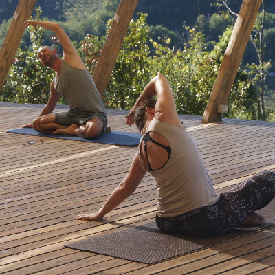 Daniel Groom taking yoga session at In Sabina retreat, Italy